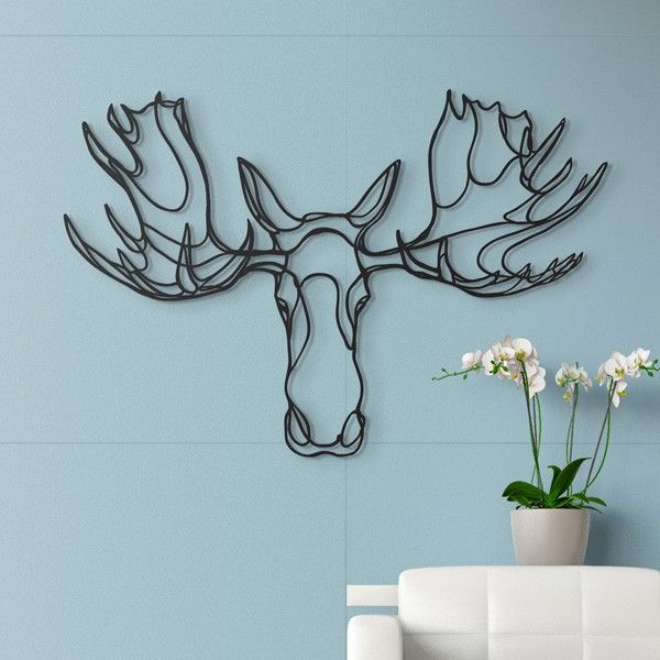 360e87994 Moose Head Wooden Wall Art in 2019 | Tattoos | Wooden wall art, Wood ...