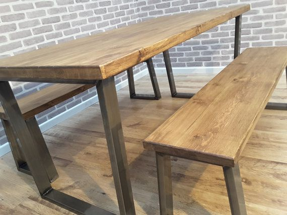 Industrial Dining Table And Bench With Silver Steel Leg Bespoke