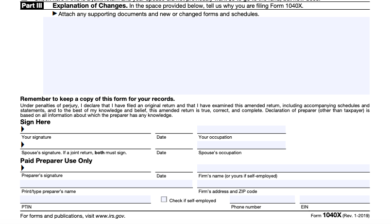 Form 1040x Instructions How To File Form 1040x Amended Tax Return