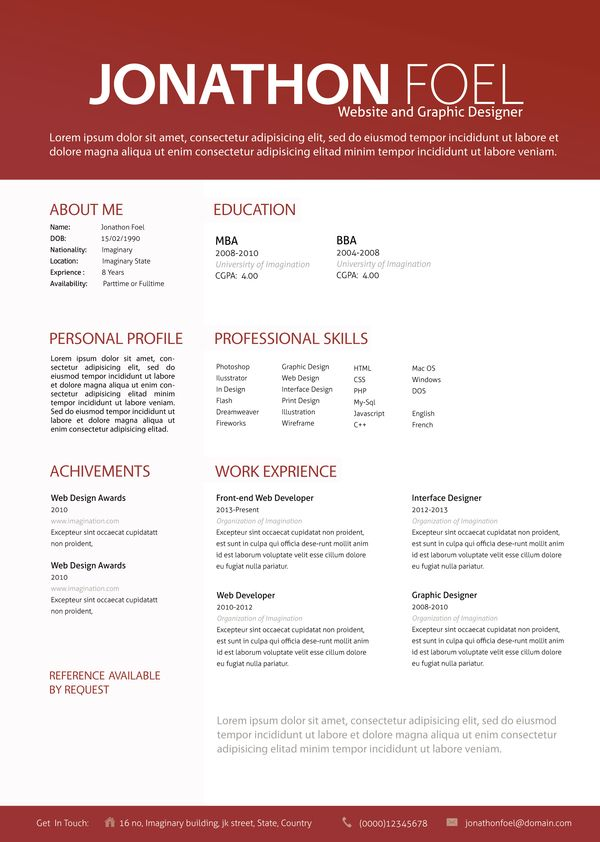 Resume By Simanto  Via Behance  D E S I G NB R A N D I N G