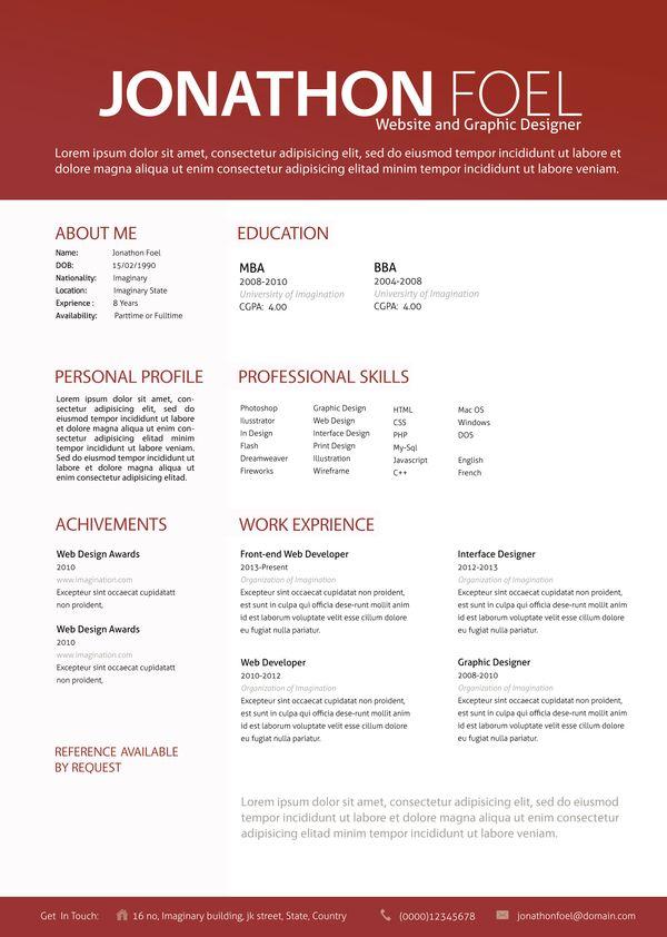 Professional Graphic Design Resume Resumesimanto  Via Behance  Professional Stuff  Pinterest .