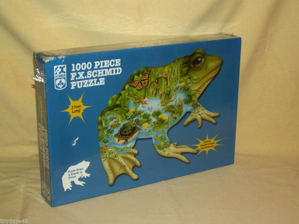 PRINCE OF POND FROG SHAPED 1000 PC PUZZLE NEW 2000 90187 FX