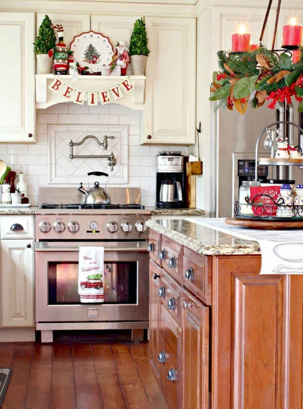 65 rustic farmhouse christmas decorating ideas christmas kitchen farmhouse christmas kitchen on kitchen cabinets xmas decor id=35912