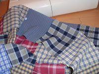 Estoy preparando una colcha con las camisas viejas de mi