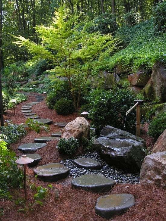 zen-garten design-Wasser Anlage-Brunnen Trittsteine-ideen Karin - garten am hang anlegen