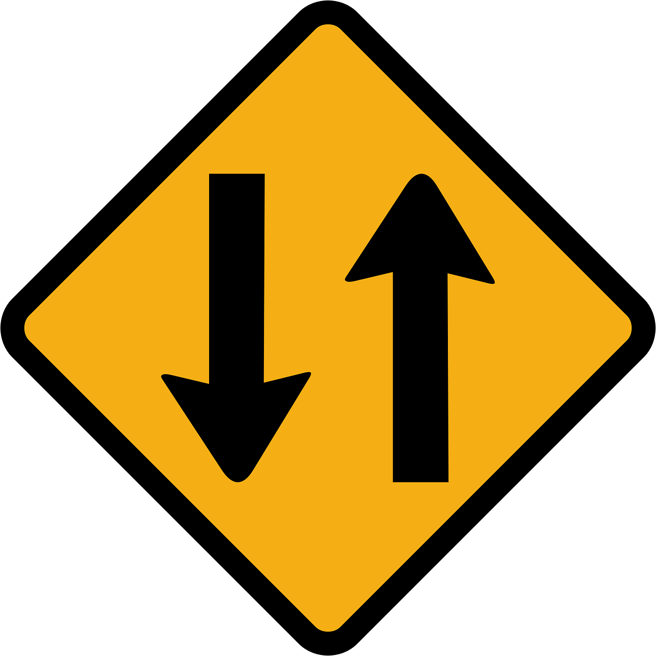 Two Way Traffic Sign Direction Transparent Image Two Way Traffic Sign Traffic Signs Traffic
