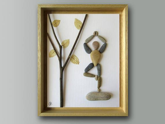 Items similar to Pebble Art - Yoga Tree Pose - Unique Gift - Yoga ...