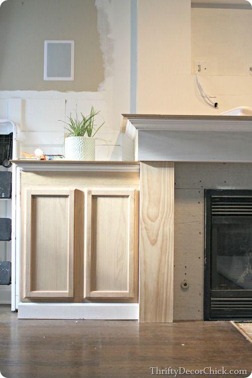 Fireplace Storage Using Upper Kitchen Cabinets.