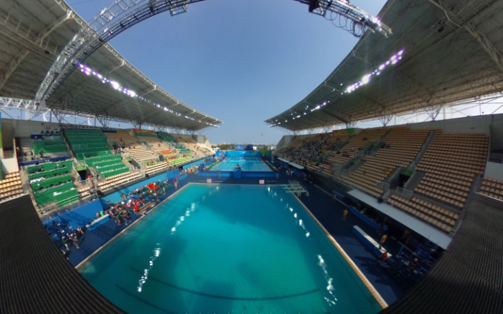Rio 2016 Panoramic View Of The Olympic Diving Pool As Seen By Bronze  Medalists Tom Daley And Daniel Goodfellow