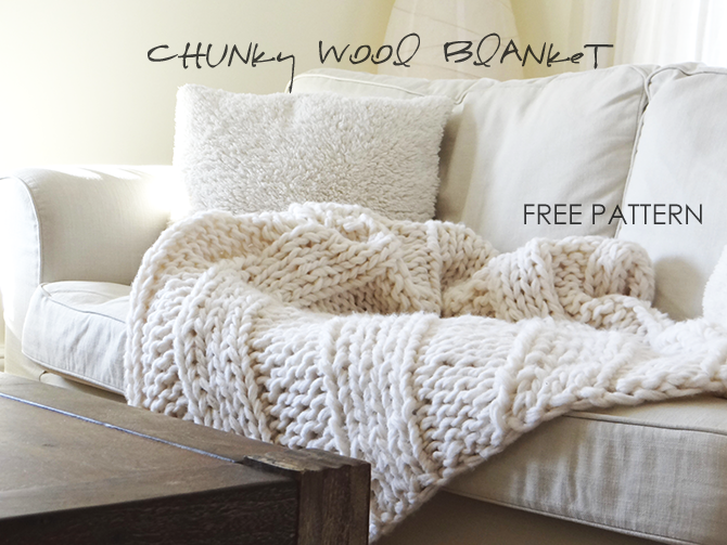 FREE chunky knit blanket pattern. Knit a blanket in a weekend! Easy ...