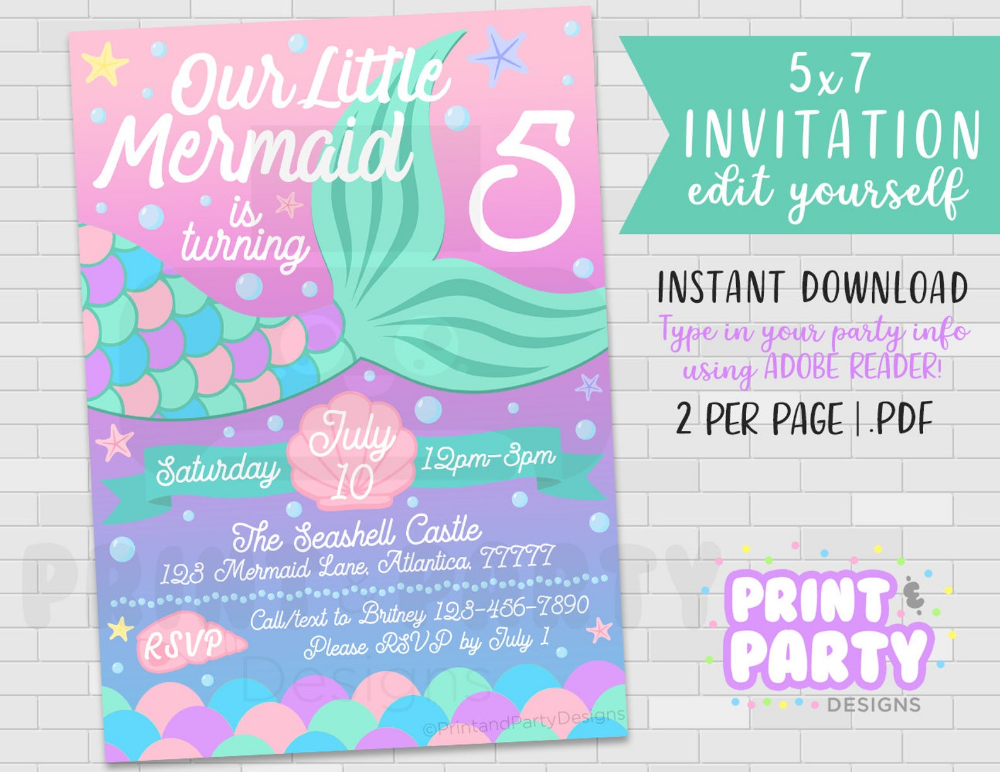 Mermaid Tail Birthday Party Invitation