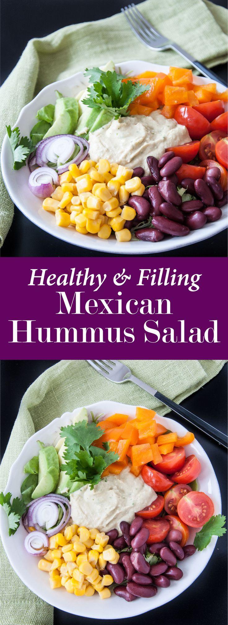Healthy mexican hummus salad bowl recipe
