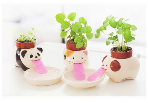 Drinking Animal Planter Cute Animal Tongue Flower Pot Ceramic Self