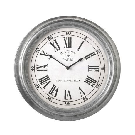 Round Metal Wall Clock - a distressed finished metal wall clock.  #WallClock #DistressedClock #RoundClock