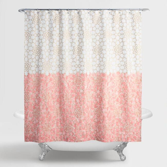 Our Exclusive Shower Curtain Creates An Ombre Effect With Ivory Background On The Top Half And Terracotta Lower