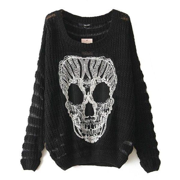 Sheinside Women's Black Long Sleeve Lace Skull Pattern Loose ...