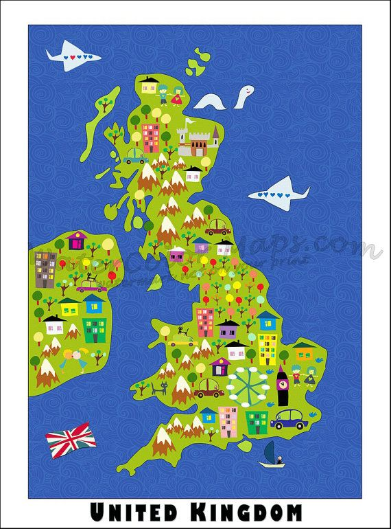 Kids Map Of England.Kids Maps United Kingdom Map Childrens Maps Map Of United Kingdom
