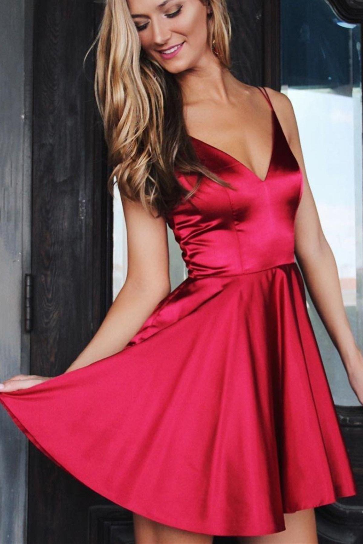 A Line V Neck Short Burgundy Prom Dresses Short Wine Red Formal Graduation Homecoming Dresses In 2021 Red Homecoming Dresses Red Dress Party Satin Homecoming Dress [ 1800 x 1200 Pixel ]