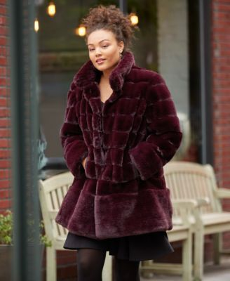 f0e07681c77 Jones New York Stand-Collar Faux-Fur Coat - Red XXL
