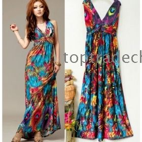Wholesale maxi long dress summer dress V-neck Dresses fashion ...