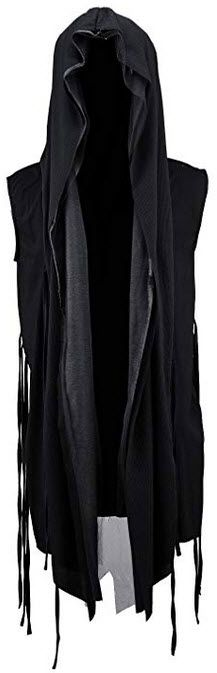fd9bc3124d2aed ByTheR Men s Mesh Layerd String Detail Dark Gothic Sleeveless Hooded  Cardigan black