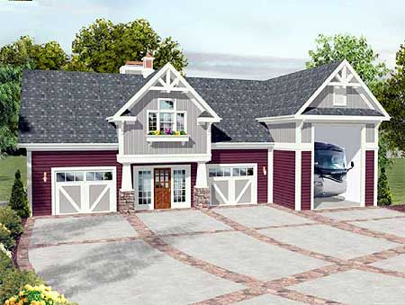Plan 20083GA RV Garage with Observation Deck House plans Decks