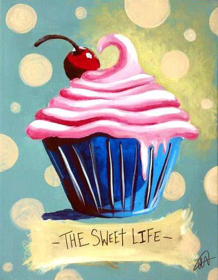Strawberry Cupcake Painting This Would Be Cute On A Canvas Panel To