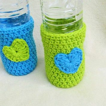 Crochet Beer Cozy Water Bottle Cozy Set Of Bottle Cozies Beach