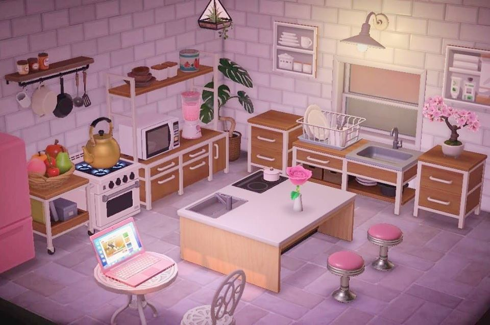 Nh Cute White And Pink Themed Kitchen In 2020 Animal Crossing Wild World Animal Crossing Animal Crossing 3ds