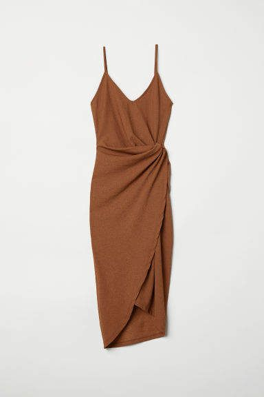 Draped Wrap-front Dress - Dark camel - Ladies | H&M US #weddingguestdress