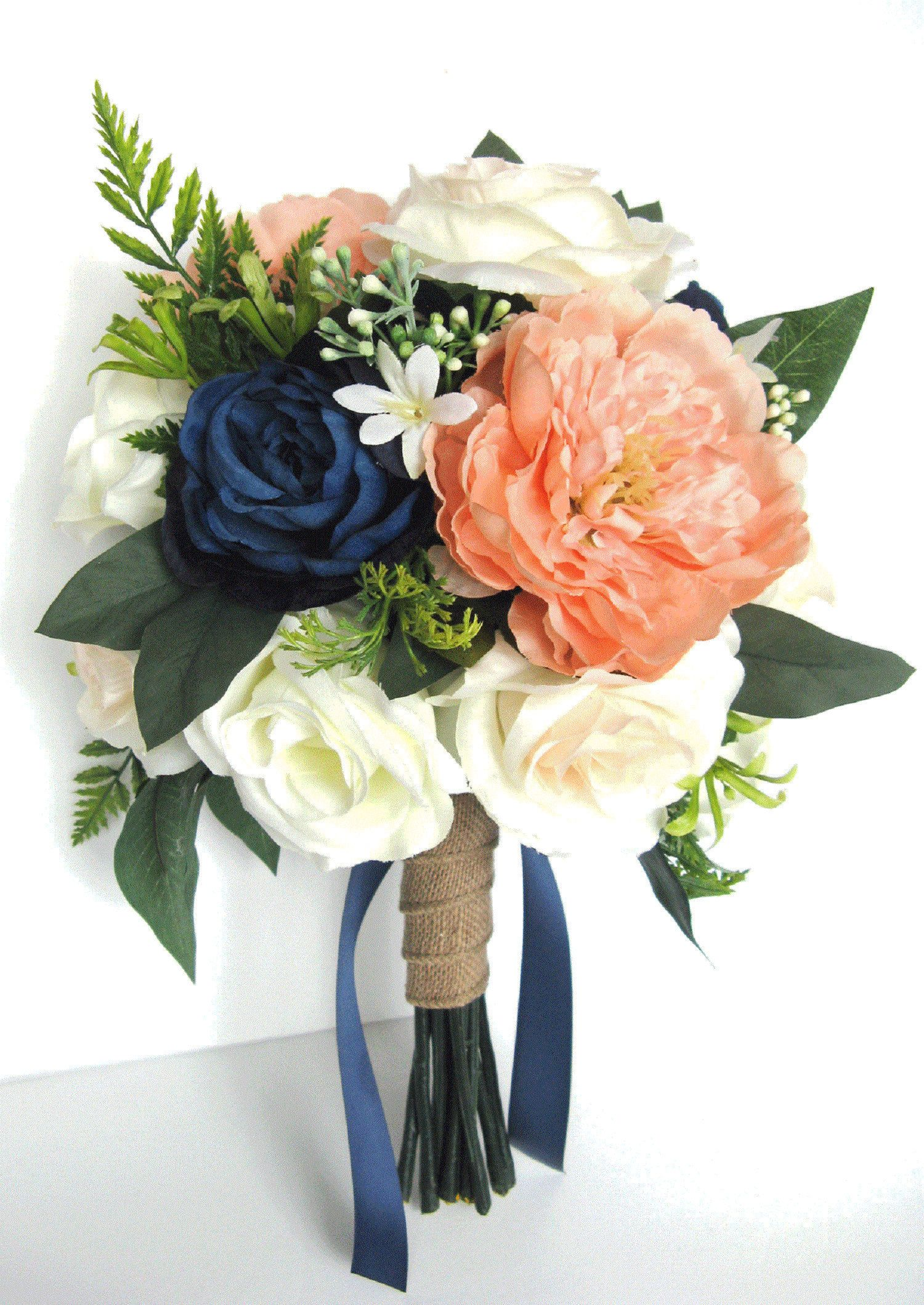 Wedding Bouquet Bridal Bouquet 17 piece package Silk flower Bouquet CORAL NAVY Blue PEACH Bridesmaid Bouquet wedding flower RosesandDreams #flowerbouquetwedding