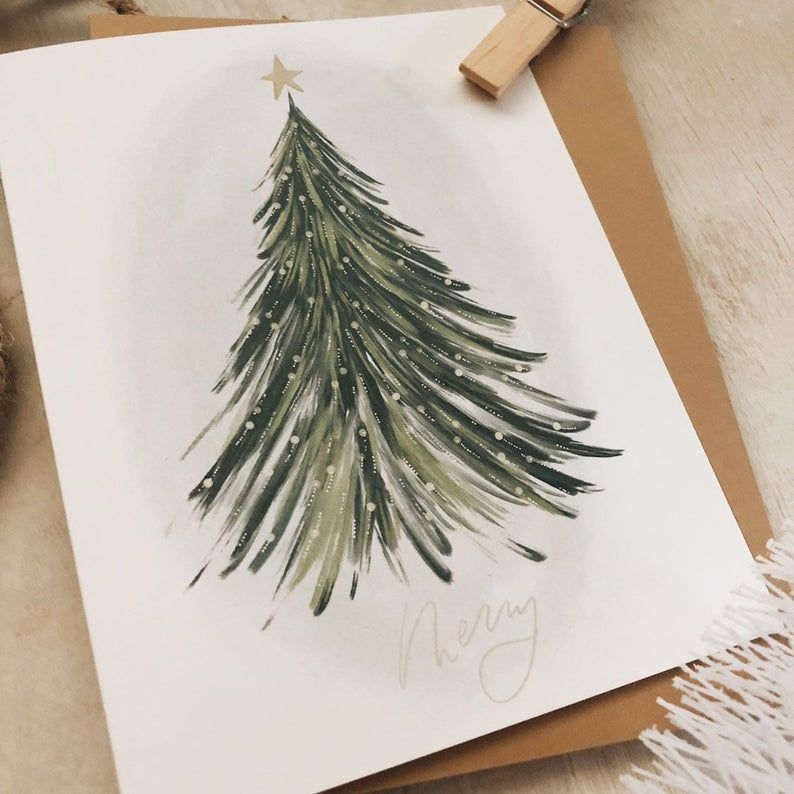 Merry Tree card//- Christmas greeting card- tree - watercolor style - holiday cards - greetings -   16 holiday Cards watercolor ideas