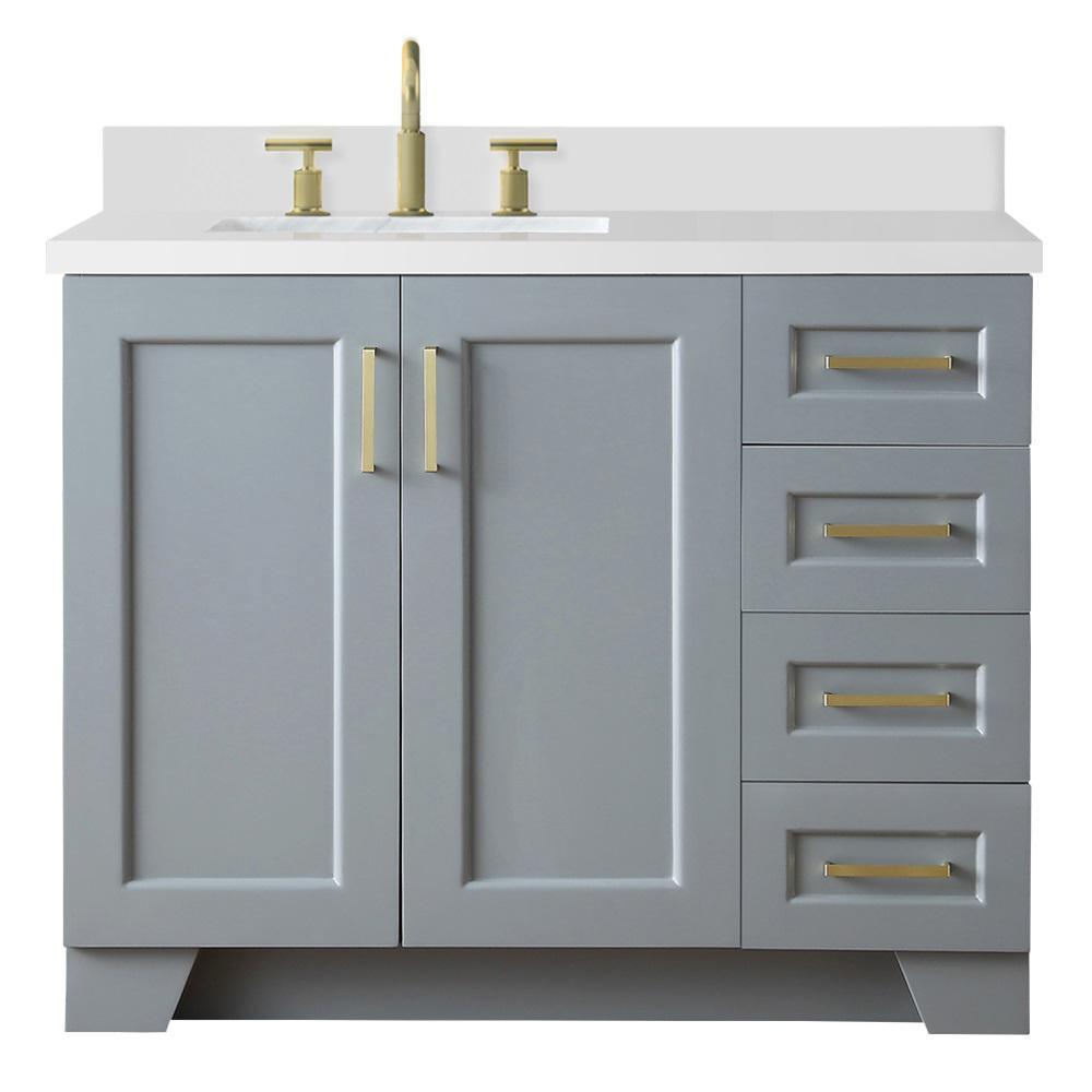 Ariel Taylor 43 in. W x 22 in. D Bath Vanity in Grey with ...