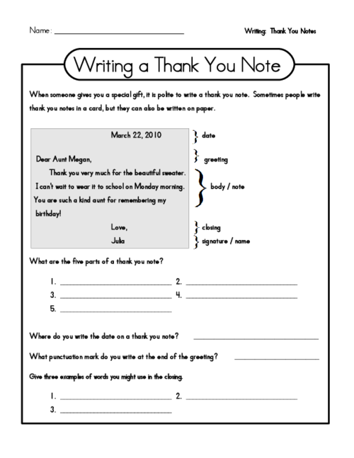 Create a thank you note with the help of this free worksheet – Create Writing Worksheets