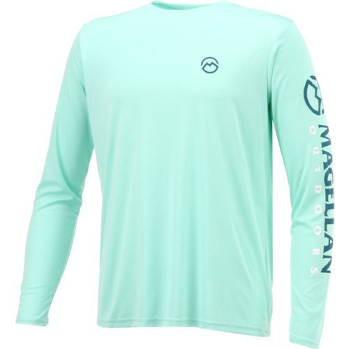 d9bbd29770ac The Magellan Outdoors™ Men s Casting Crew Moisture Management Long Sleeve T- shirt is made of 100% polyester and features a Magellan Outdoors™ logo.