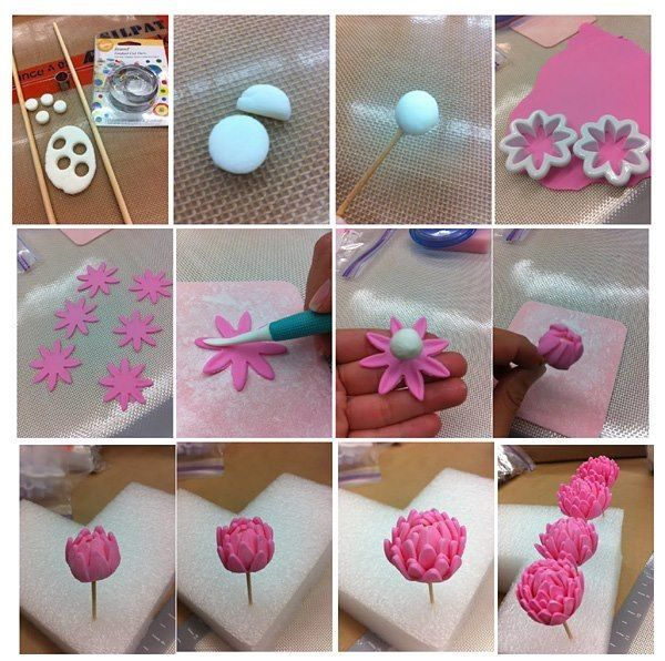 """:) fondant flower tutorial"" simple but really effective, especially if you replaced the centre white icing with a bit of cake or something"