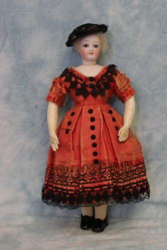 Antique-12-French-Fashion-doll-Swivel-head-original-Dress-Shoes-Socks-Skin-Wig