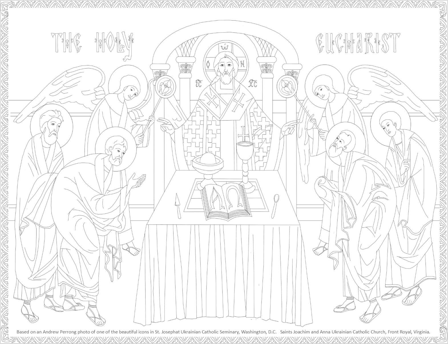 Byzantine Icon coloring page, The Holy Eucharist | Byzantine Icon ...