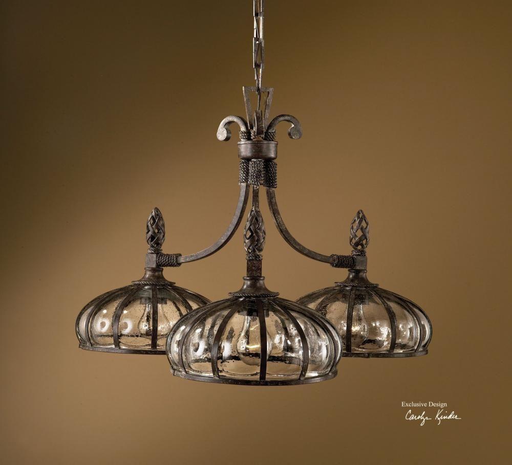 Uttermost galeana 3 light iron chandelier fxv4 lightingone of cincinnati shop chandeliers and lighting fixtures
