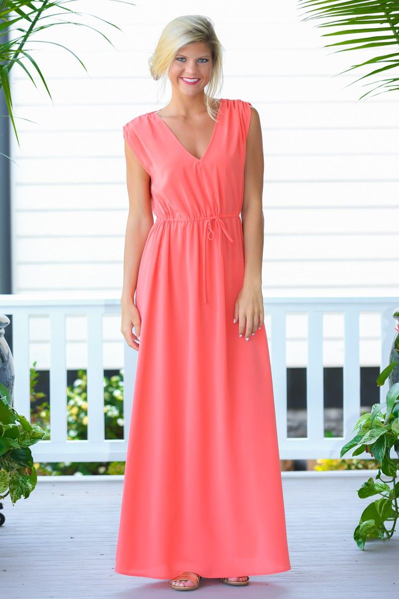 Twice As Sweet Coral Maxi Dress at reddressboutique.com