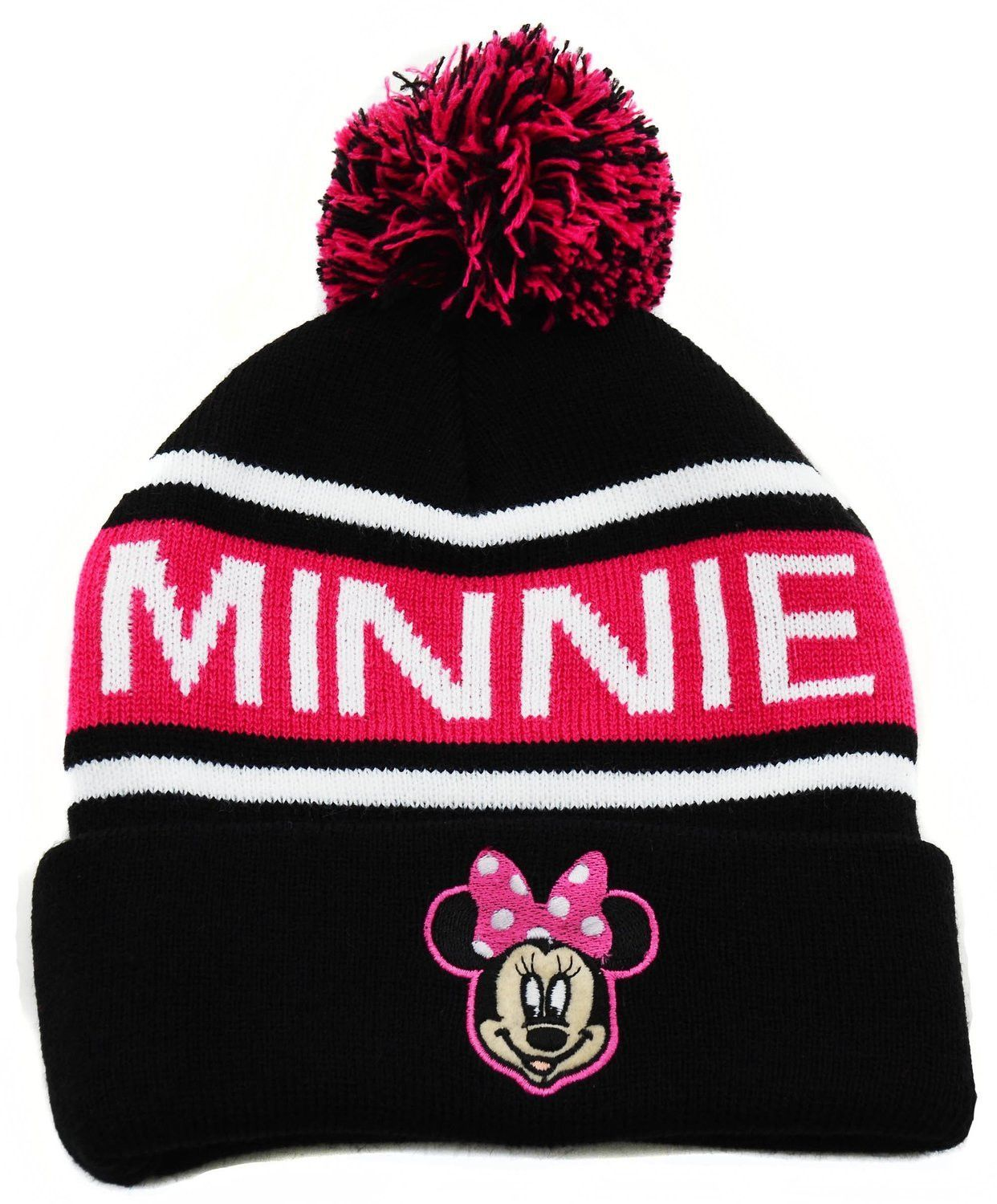 981205a7d5b Pink Black Striped Disney Minnie Mouse Pom Cold Weather Beanie Hat ...