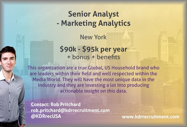 New Job Senior Analyst  Marketing Analytics Needed In New York