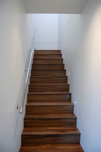 Stairs: Heritage Millwork; LED Step Lighting: Home Depot; Railing: Rail Co  Stainless