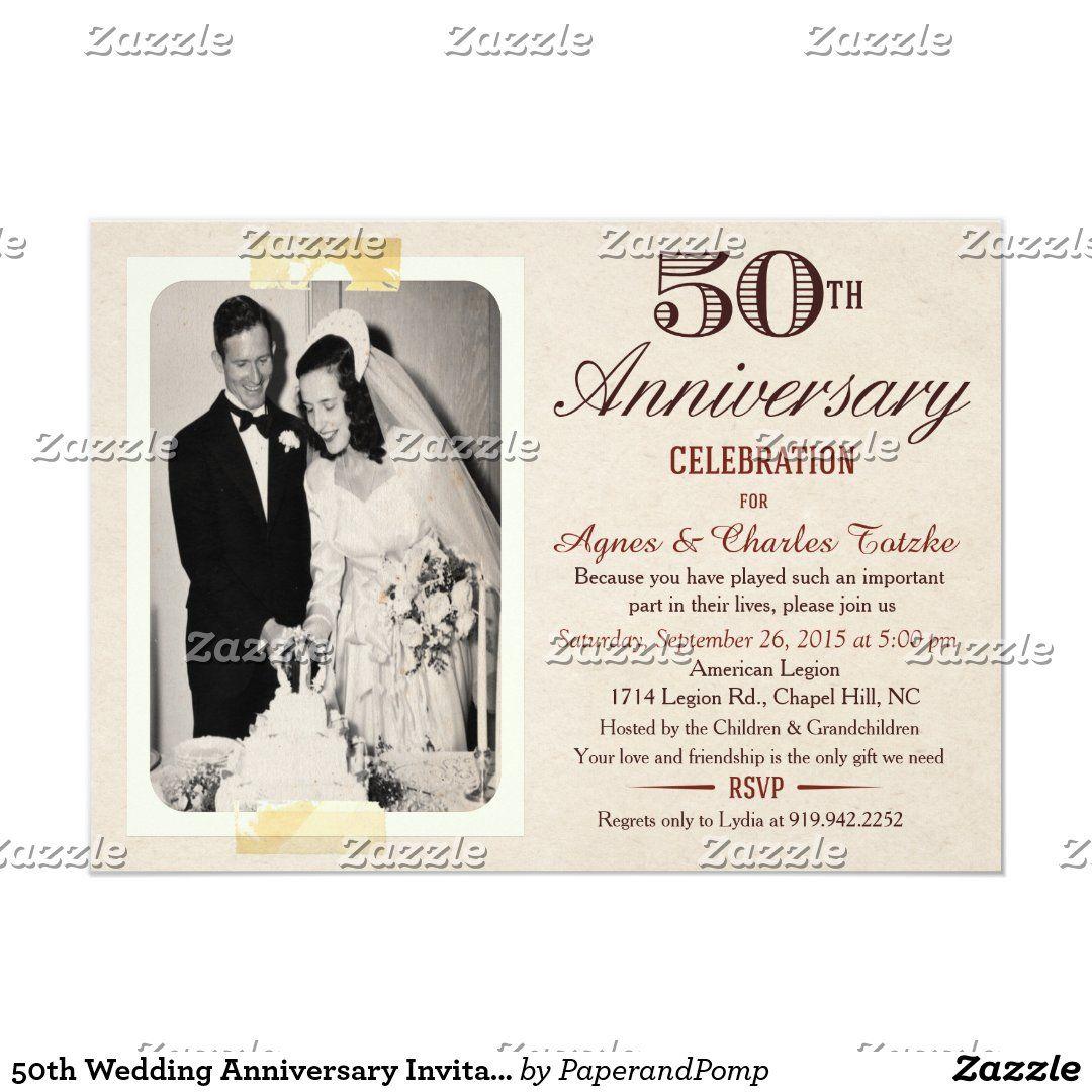 50th Wedding Anniversary Invitation Custom Photo Zazzle Com Di 2021