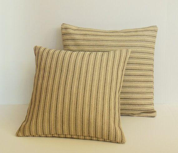 Gray Striped Throw Pillows, Canvas Decorative Pillow Covers, French Ticking Stripe  Pillows