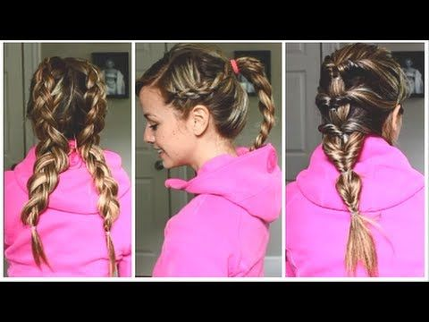 3 Quick Workout Hairstyles For Long Medium Hair Tutorial Workout Hairstyles Medium Hair Styles Hair Styles
