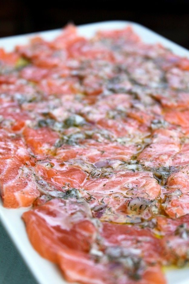 Carpaccio of Salmon - This is amazingly good! Use Google Translate to read in English.