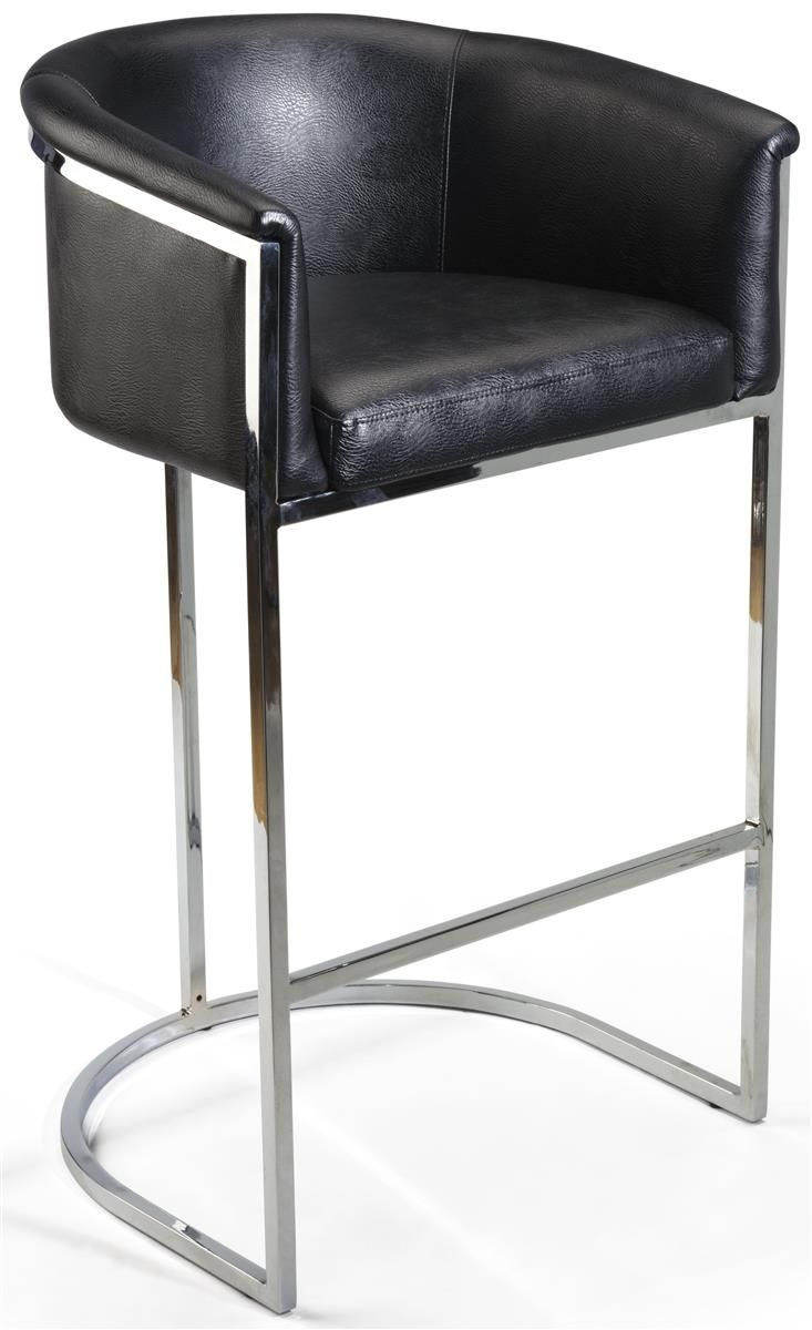 31 Bar Height Stool W Faux Leather Seat Backrest Armrests