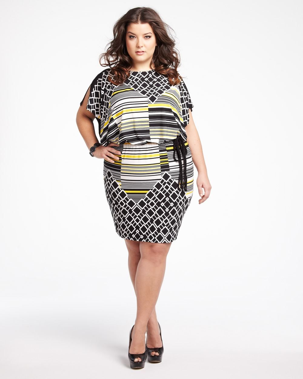 Womens Short Multi Print Dress Plus Size Plus Plussize Curvy