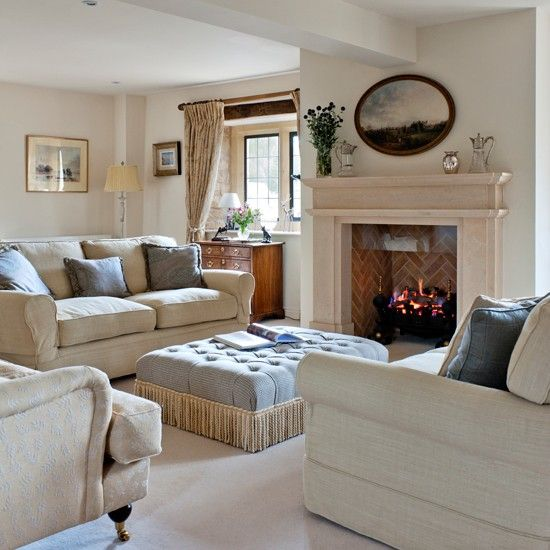 Neutral luxurious living room Country decorating ideas Country